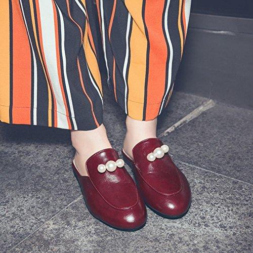 MissSaSa Donna Scarpe col Senza Tacco Pantofole (34, vino rosso)