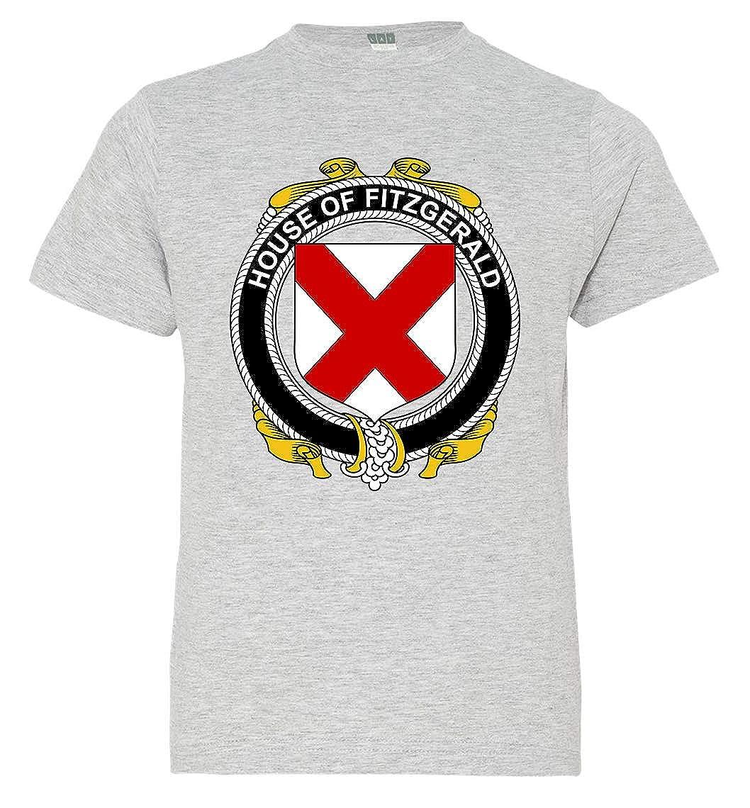Tenacitee Boys Youth Irish House Heraldry Fitzgerald T-Shirt Medium Heather Grey