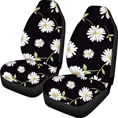 Simasoo Car Seat Cover Comfortable Seats Only Full Set of 2,Lovely Black Daisy Universal Auto Front Seats for Most Car, SUV Sedan & Truck: Automotive