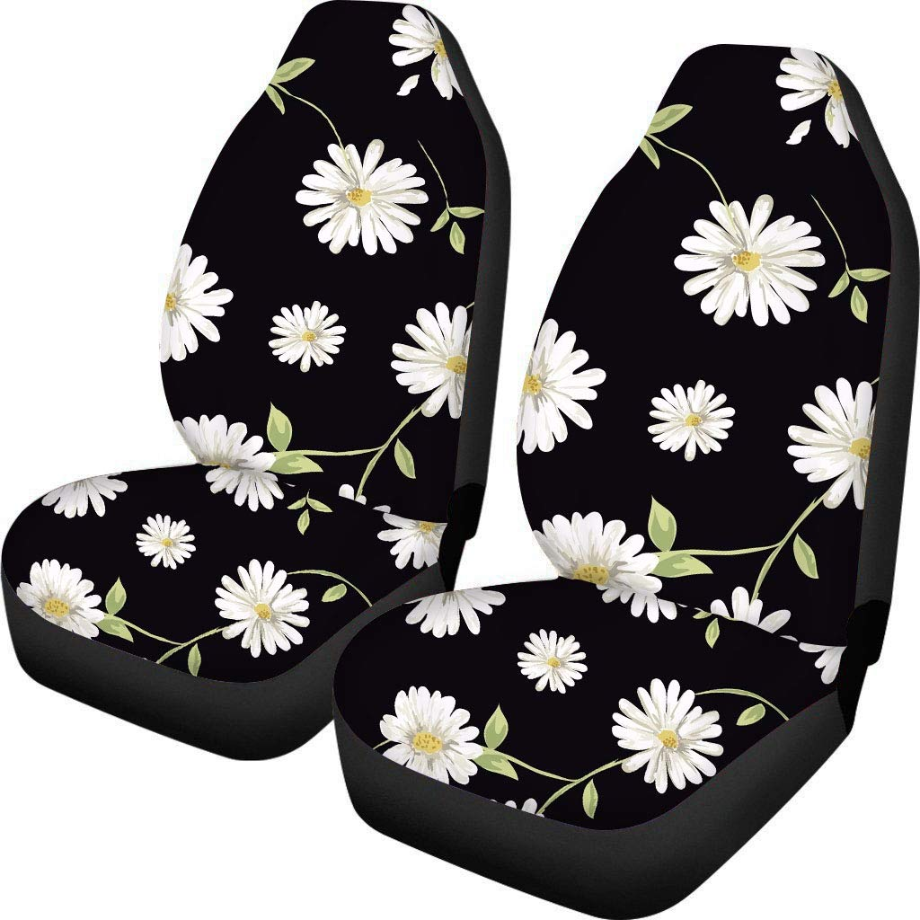 ZERODATE Unique Carseat Covers Flowers Pattern Women Front Seat Cover Girls Durable Car Interior Protector Cover Case Accessory 2 Pcs Set for Winter Black