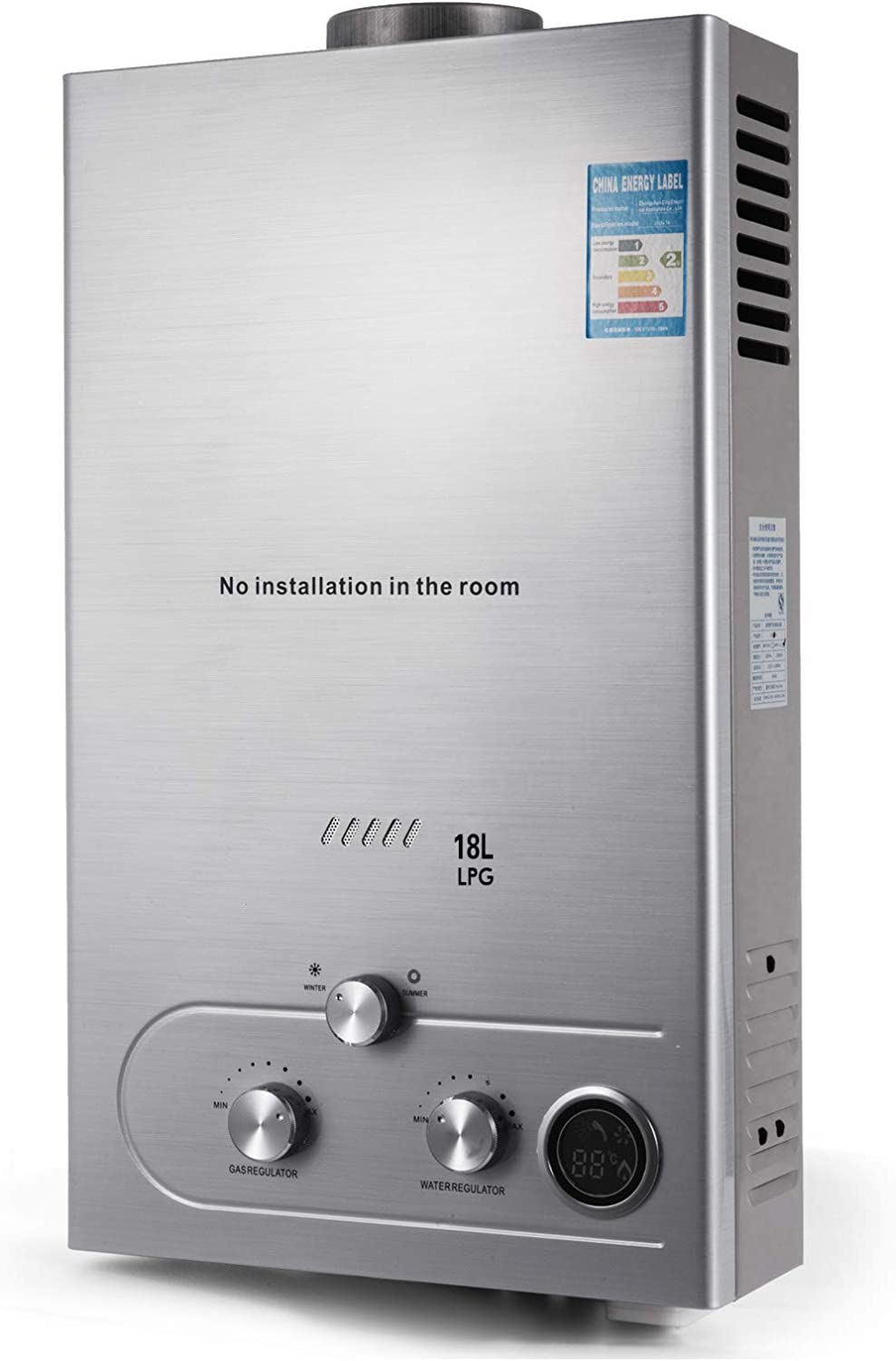 Happybuy 18L Propane Water Heater 4.8GPM Tankless Propane Water Heater Fit for Home outdoor RV Use