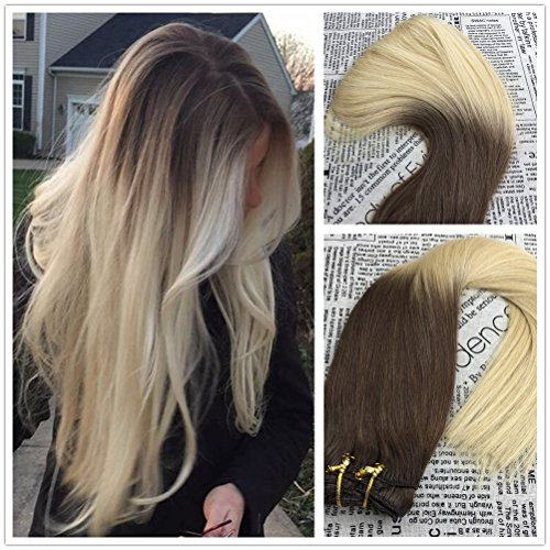 Moresoo 18 inch Clip In Human Hair Extensions Two Tone Ombre Color Chocolate Brown to Golden Blonde 100% Straight Real Remy Human Hair Full Head 120 Grams/7 Pieces Salon Quality Hair