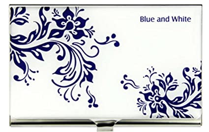 Azul Y Blanco De Porcelana Tarjeta De Nombre De La Tarjeta ...