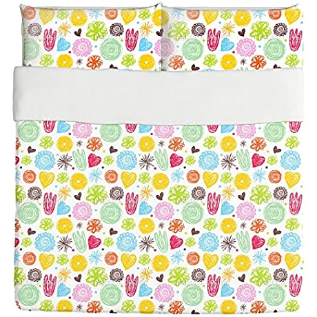When Girls Draw Duvet Bed Set 3 Piece Set Duvet Cover 2 Pillow Shams Luxury Microfiber Soft Breathable