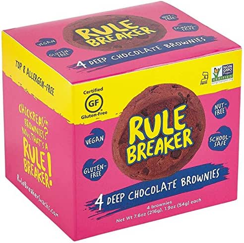 Rule Breaker Snacks, Deep Chocolate Brownie, Vegan, Gluten Free, Nut Free, Allergy Friendly, Kosher, Individually Wrapped 1.9oz Cookies (4 Brownies)