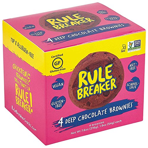 (Rule Breaker Snacks, Deep Chocolate Brownie, Vegan, Gluten Free, Nut Free, Allergy Friendly, Kosher, Individually Wrapped 1.9oz Cookies (4 Brownies))