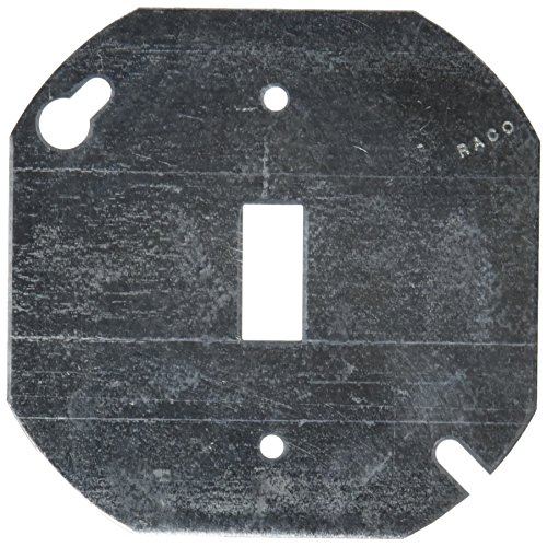 (Hubbell 729 Raco Flat Octagon Electrical Box Cover, 4 In L X 4 In W, Metallic, Steel, 4