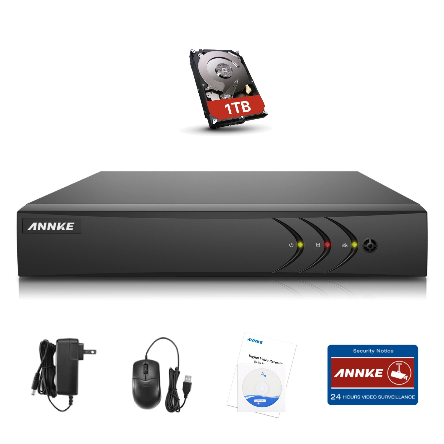 Annke 16CH 1080P Lite DVR 5-in-1 Security DVR Recorder with 1TB Hard Drive, HDMI/VGA Quck QR Code Scan Easy Remote Access Motion Detection &Eamil Alerts by ANNKE