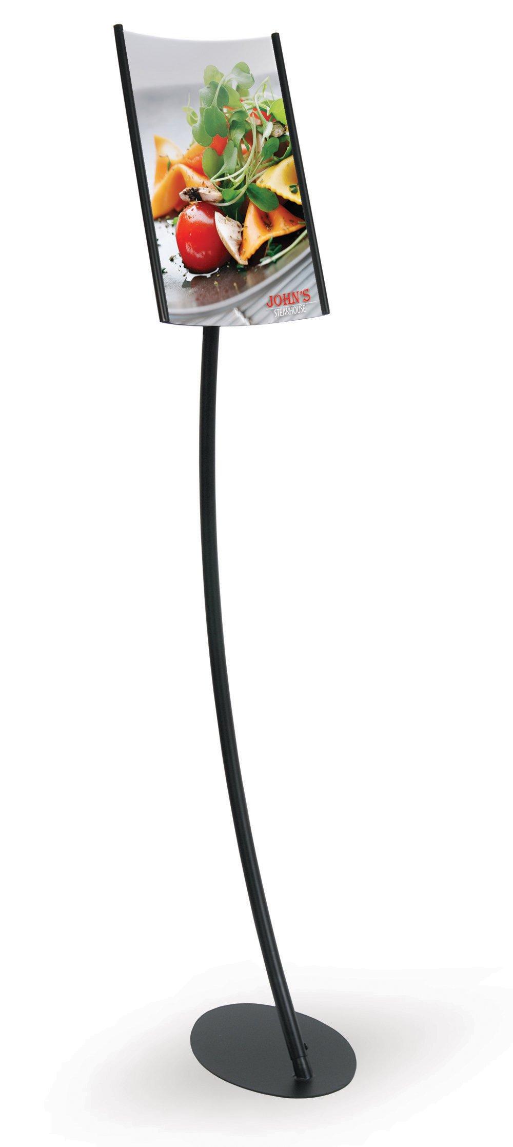 Elliptical Pedestal Sign Holder Stand with Angled, Curved Slide-In Sign Frame for 8.5'' x 11'' Vertical Insert, Black