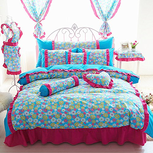 Sisbay Daisy Flower Print Girls Bed in a Bag Full Size,Princess Rustic Bedding Duvet Cover Cotton,Vintage Bed Skirt Fresh Pillows,7pcs