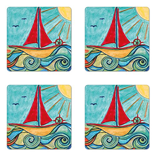 Ambesonne Art Coaster Set of 4, Baby Boy Paintings Ship in the Waves of Ocean Sun Kids Girls Nursery Picture, Square Hardboard Gloss Coasters for Drinks, Teal Red Earth Yellow