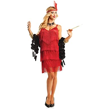 Hollywood Flapper Adult Costume Red - Medium  sc 1 st  Amazon.com & Amazon.com: 1920s Hollywood Flapper Great Gatsby Adult Costume: Clothing