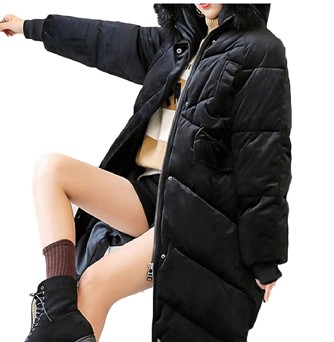 Black LEISHOP Women's Thickened Parka Coats Faxu Fur Hood Down Jackets