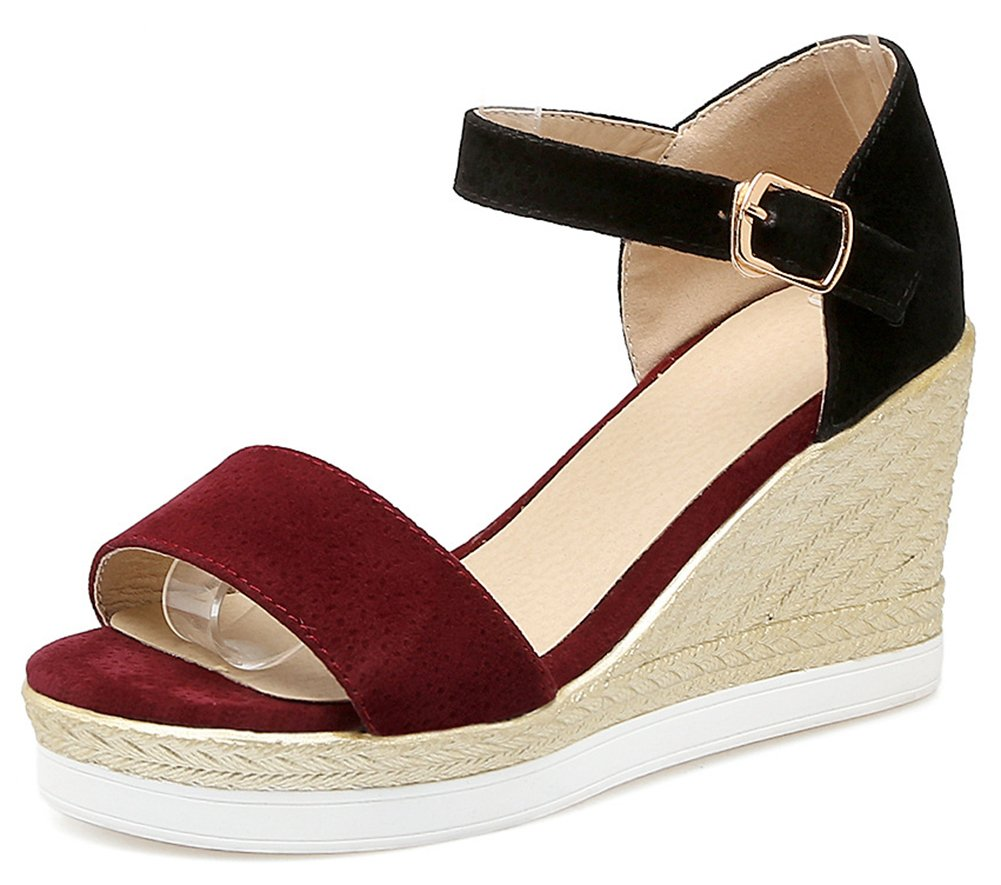 Aisun Women's Open Toe Wedge Sandals with Ankle Strap - Buckled Platform Casual - Color-Contrasted High Heel B07CR76SBK 4.5 B(M) US|Wine Red
