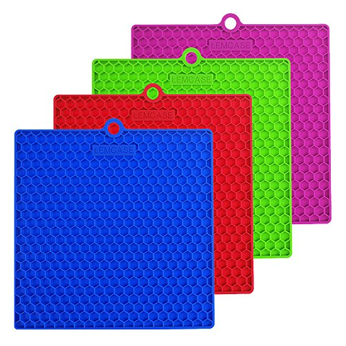 "LEMCASE Silicone Pot Holder, Trivet Mat, Multipurpose Heat Resistance Hot Pad ( 7"" x 7"" x 0.32"", Set of 4, Square ) - Red, Blue, Green, Purple"