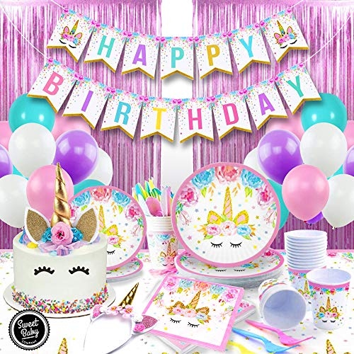 Sweet Baby Co. Unicorn Party Supplies Set And Birthday Decorations For Girls With Plates, Napkins, Table Cover, Utensils, Cups, Headband, Cake Topper, Photo Backdrop, Balloon (Pink, Teal, Purple)