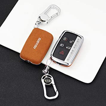 ontto for Land Rover Car Key Cover Zinc Alloy Suede Leather Key Fob Cover Protector for 2018 2019 Land Rover Range Rover Sport Evoque Velar Discovery 5 Smart Car Key Case 5 Buttons Brown