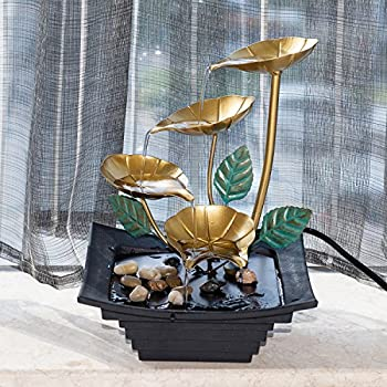 """Diensday Indoor Tabletop Fountain Decor Home Light Relaxation Cascading Rock Pump Waterfall Fountains Zen Small Desk New(10.2""""H- 4 Tier lotus leaves modeling,metal top,plastic base,pump included)"""