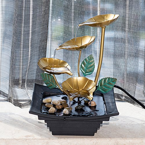 Diensday Indoor Tabletop Fountain Decor Home Light Relaxation Cascading Rock Pump Waterfall Fountains Zen Small Desk New(10.2