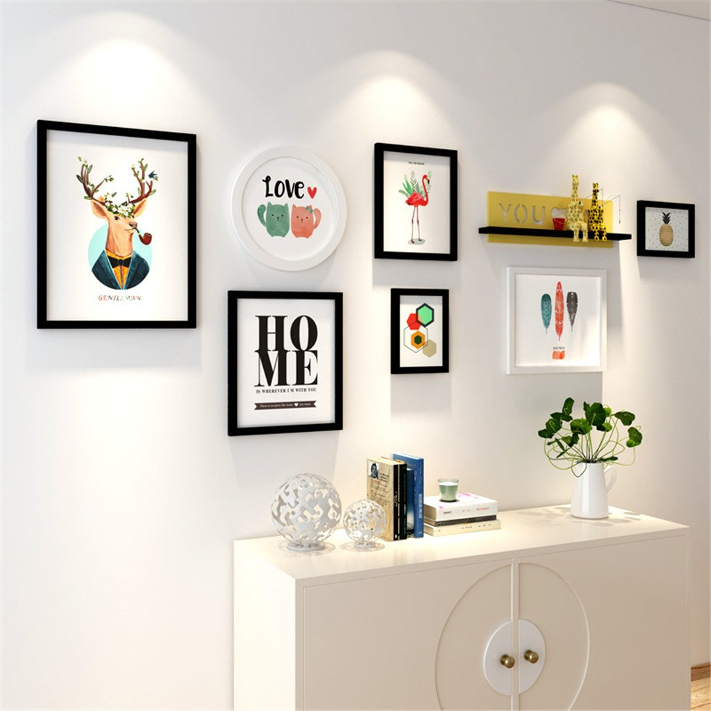 Photo frame Creative Shelf Hanging wall Solid wood living room sofa Photo Wall decoration Simple Photo wall