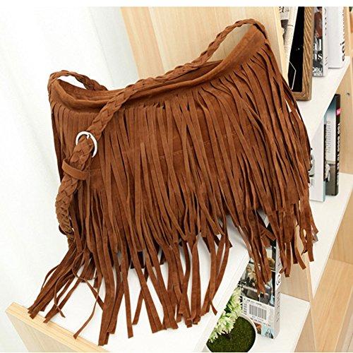 Purse Tassel Women's Brown Handbag Crossbody Fringe Long Leather Hobo Small oboss Dark Zf6A7f