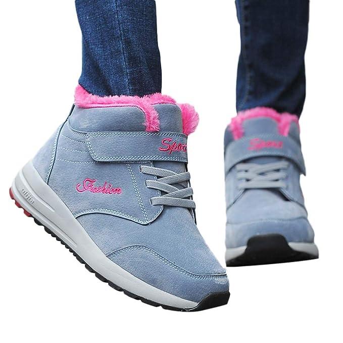 JiaMeng Snow Keep Warm Transpirable Zapatillas de Deporte de Felpa Caliente Zapatillas de Deporte para Exteriores de Deportivos de Running para Mujer: ...