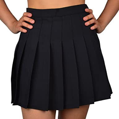 621fe13d028 Smilice Women High-Waisted Pleated Mini Skirts with Soft Shorts Underneath  (Black
