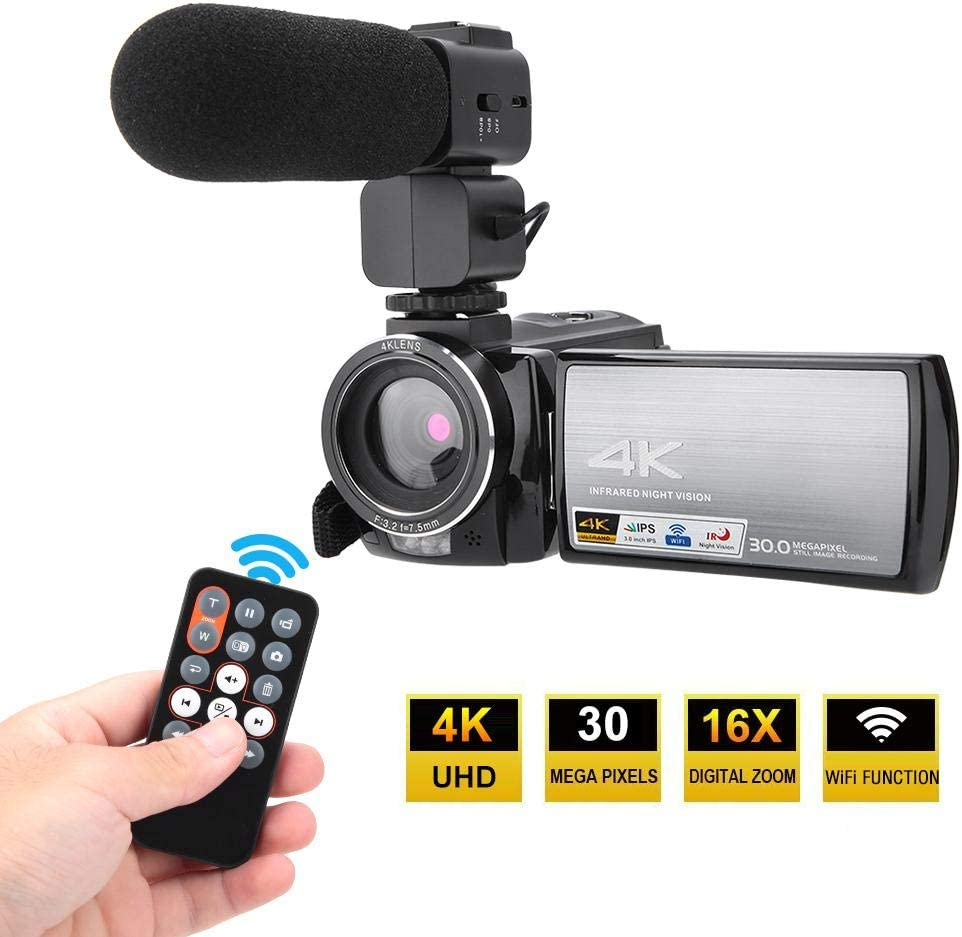 Outdoor,etc 2 Camera Camcorder Digital,4K HD 270-Degree Rotation 3.0inch Touch Screen Night Vision Camera,16X APP Remote Control WiFi Digital Video Camera for Home Party
