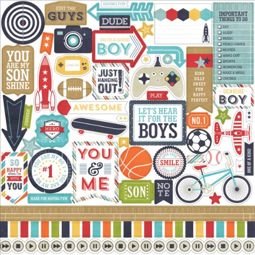 Echo Park Paper That's My Boy Cardstock Stickers, 12 by 12-Inch