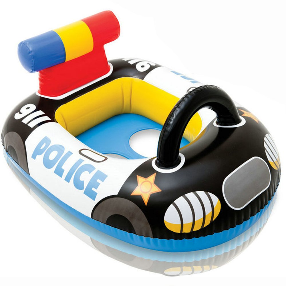 Baby Inflatable Pool Float Seat- Baby Infant Swim Ring Pool Float - Popular Swimming Toy - Learn Swimming For Baby Infants (Black Police Car) YATE