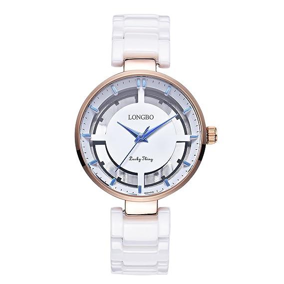 Longbo MUJER lujo cristal cerámica banda hueca pulsera de negocios reloj oro rosa carcasa pulsera muñeca
