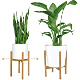 "mini+MOD 2 PACK Mid Century Plant Stands. Adjustable indoor plant stand, plant holder (8""-12"") in natural bamboo-Small…"