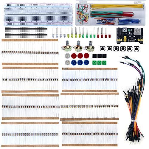 Oak-Pine Electronics Starter Kit MB102 Breadboard Resistor Jumper Wires Led Diodes Precision Potentiometer Tactile Cap - Oak Breadboard