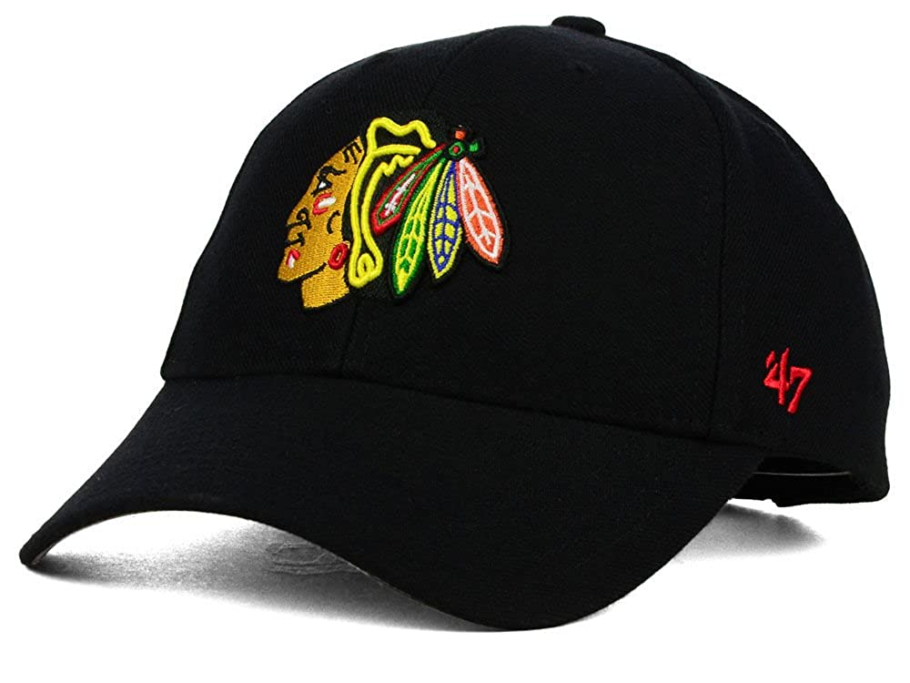 '47 Brand Cap – NHL Chicago Blackhawks MVP Curved V Struct fit Black H-MVP04WBV-BKA