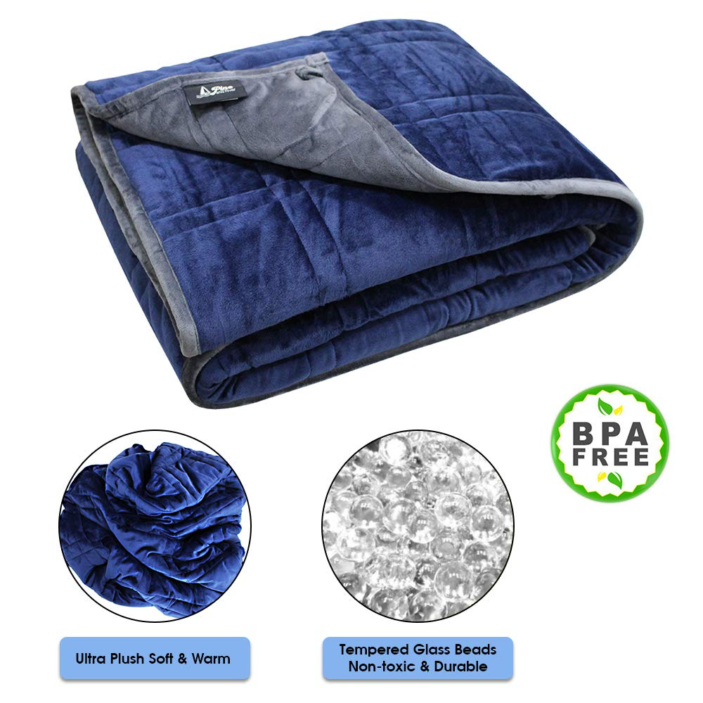 Pine & River Ultra Plush Weighted Blanket - Minky Warm Luxury - (48'x60', 7 lb) | Designer Blanket | One Piece Construction | Enjoy Quality Sleep Anywhere… 70101