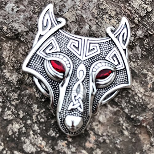 W WOOGGE Viking Norse Wolf Head Brooch Pin Gothic Pendant Irish Viking Penannular Clothes Fasteners Scarf Lapel Pin (Wolf Head(red Eye)) by W WOOGGE (Image #2)