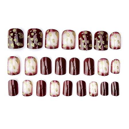 Buleerouy - Juego de 24 piezas acrílicas para uñas postizas ...