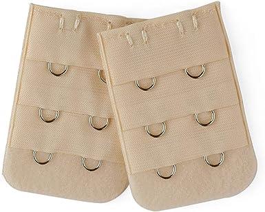 Allegra K 2 Pcs Women Bra Strap Extension 3 x 3 Hooks Underwear Buckle Hook Black Red