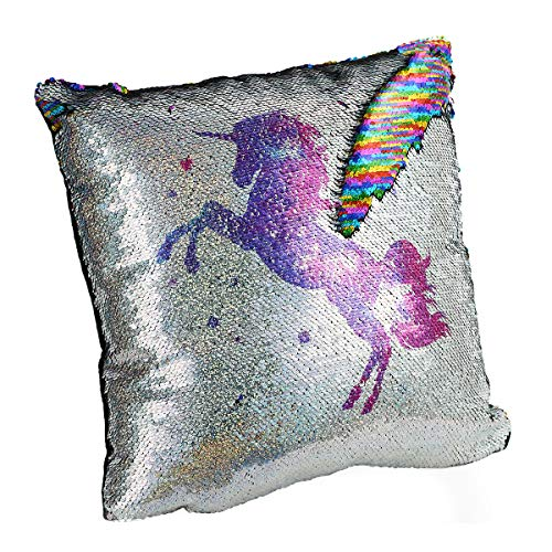 (Unicorn Pillow, Sequin Pillow Decorative Pillows, Unicorn Flippy Sequin Pillow Glitter Rainbow, Fluffy Stress Relieving, with Insert Included, 16x16 Inches)