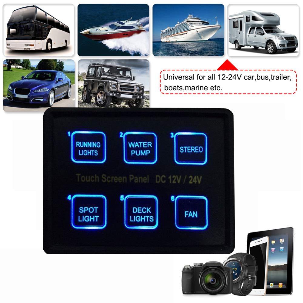 KKmoon Pannello Interruttore 12v 24v 6 Gang Film Schermo a Sfioramento Completo Impermeabile IP66 Controllo del Circuito con Cavo USB PPTC e Scatola a Membrana per Camion Barca Jeep ATV UTV SUV
