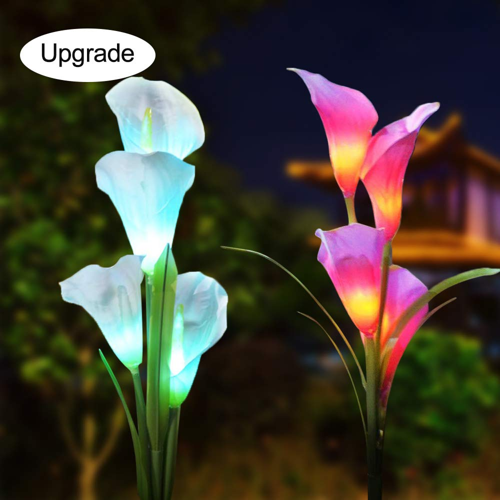 Solar Garden Stake Lights, 2-Pack Solar Powered Calla Lily Flower Lights Outdoor Multi-Color Changing Stake Decorative Landscape Lawn Yard Patio LED Calla Lily Lights for Garden(White+Purple) by Goodtechnical