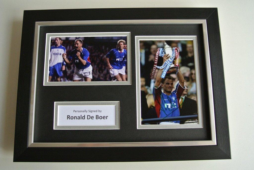 Sportagraphs Ronald de Boer SIGNED A4 FRAMED Photo Autograph Display Rangers Football & COA PERFECT GIFT