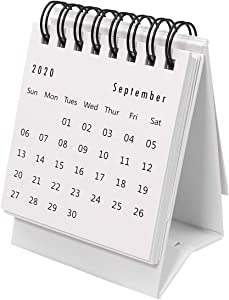 STOBOK 2020-2021 Desk Calendar Stand Up Desktop Year Calendar Organizer Flip Daily Scheduler Monthly Pages Easel Calendar (White)