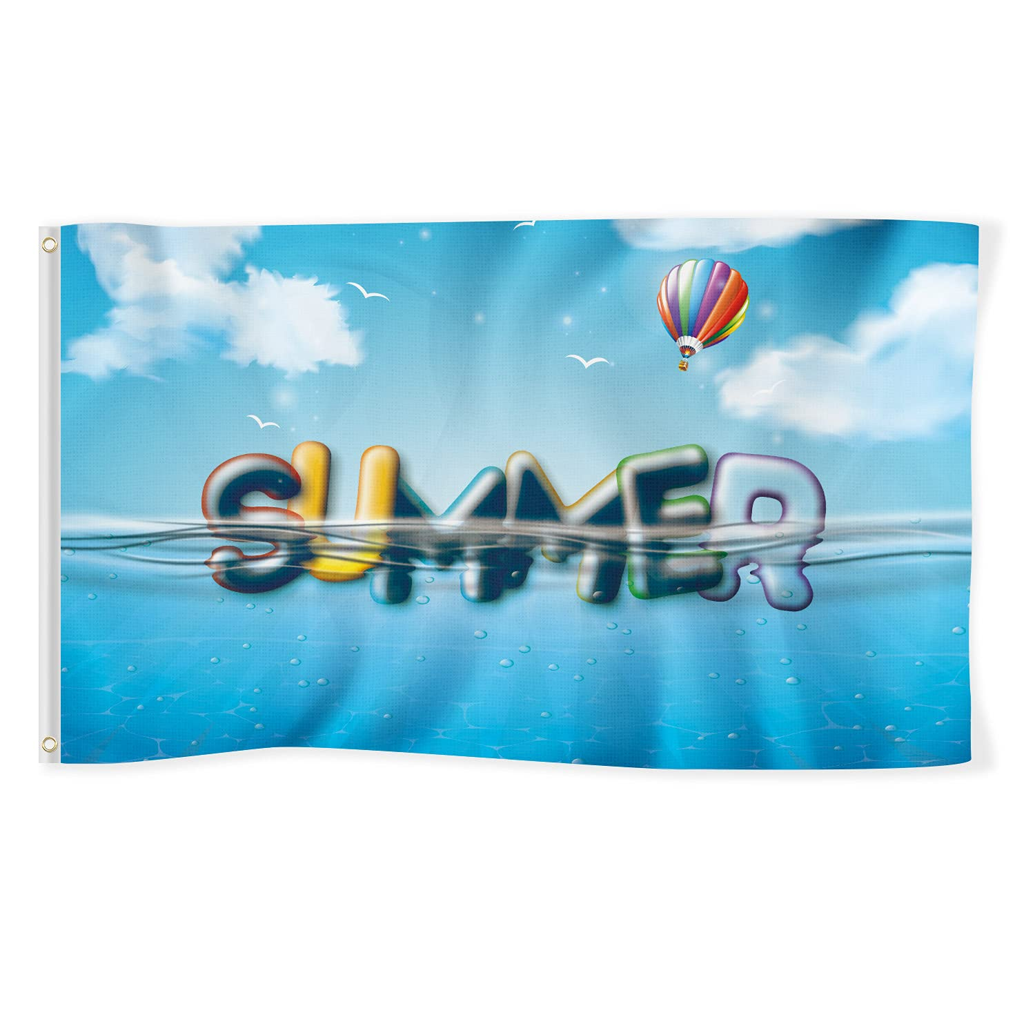 Hello Summer Flag 3x5 Ft Banner Decorations Swimming Pool Duck Swim Ring Yard Sign Party Supplies Holiday Decoration Cool Funny Flags Welcome Double Stitched with Brass Grommets House Outdoor Garden Dorm Room Farmhouse Wall Door Travel Man Cave Indoor