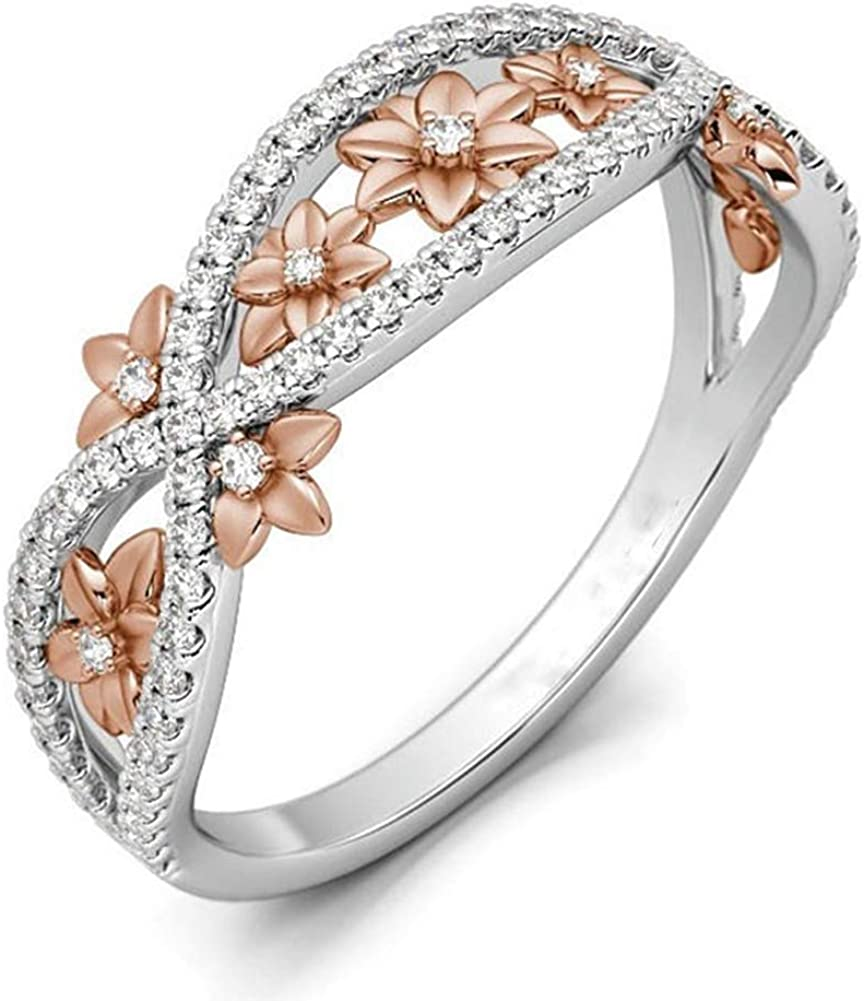 HOTSKULL 925 Sterling Sliver Floral Ring Crossover Two Tone 18k Rose Gold Blossom Diamond Jewelry Engagement Propoasl Gift Wedding Band Rings