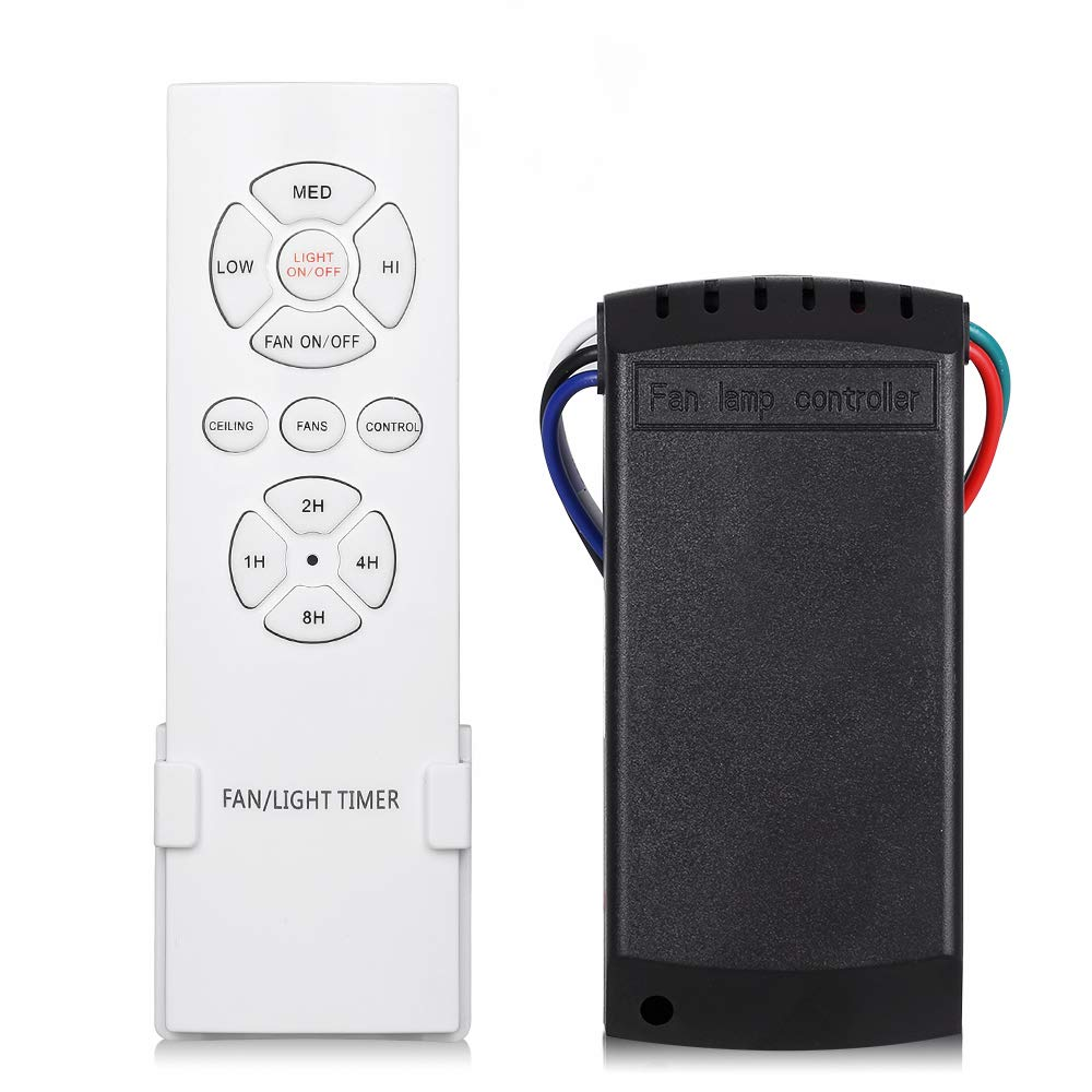 Kit di controllo remoto wireless universale per ventilatori a soffitto con 3 velocit/à 4 tempi con funzioni di accensione//spegnimento luce per uso casa//ufficio//hotel//club//fabbrica//ristorante