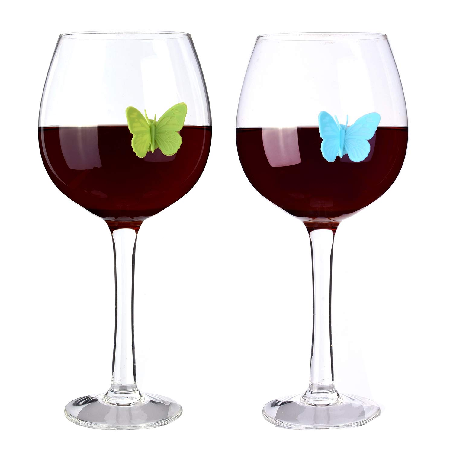 Wine Glass Charms Set of 10 Silicone Drink Glass Markers &Wine Charm Tags with Suction Cup for Stemless Glasses, Beer Mugs & More (Butterfly assorted) by ALYC (Image #4)