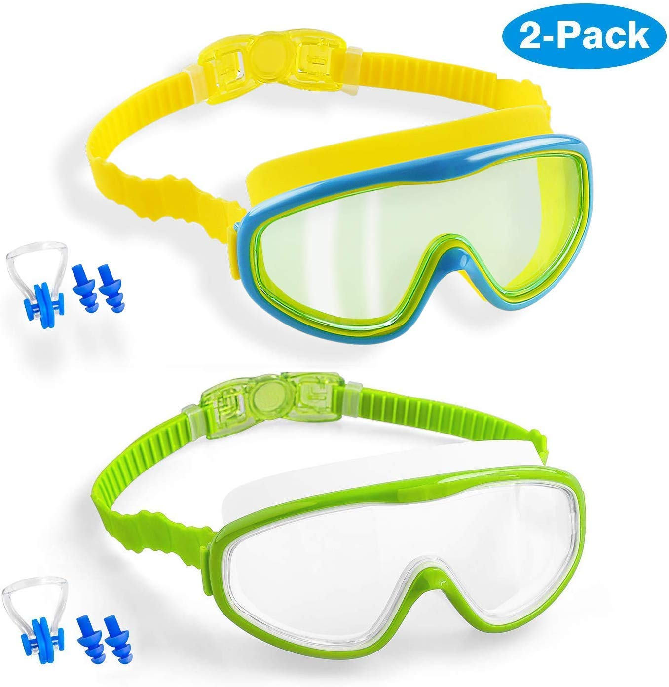 Elimoons Kids Swim Goggles 2-Pack Wide Vision Swimming Glasses for Children and Early Teens from 5 to 15 Years Old UV Protection Anti-Fog Waterproof Wide Vision