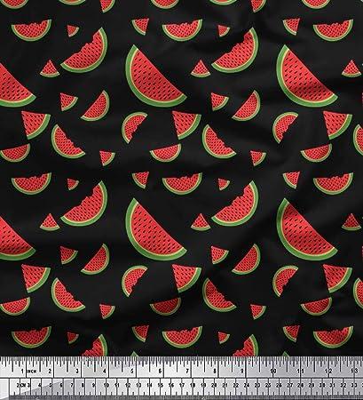 Soimoi Negro crepe poli Tela sandía Fruta tela estampada de 1 ...
