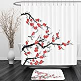 (US) Vipsung Shower Curtain And Ground MatJapanese Decor Collection Simplistic Cherry Blossom Tree Asian Botanic Themed Pattern Fresh Organic Lines Art Work Red BlackShower Curtain Set with Bath Mats Rugs